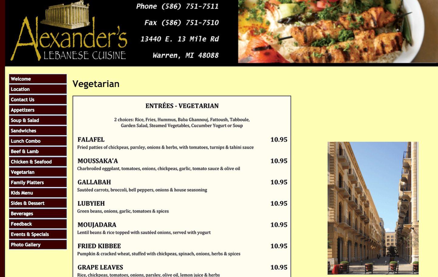 Alexander\'s Lebanese Cuisine in Warren, Michigan 10% Senior Discount -